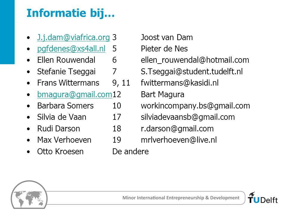 4 Challenge the future Delft University of Techology Informatie bij… J.j.dam@viafrica.org3Joost van DamJ.j.dam@viafrica.org pgfdenes@xs4all.nl5Pieter de Nespgfdenes@xs4all.nl Ellen Rouwendal 6ellen_rouwendal@hotmail.com Stefanie Tseggai7S.Tseggai@student.tudelft.nl Frans Wittermans9, 11fwittermans@kasidi.nl bmagura@gmail.com12Bart Magurabmagura@gmail.com Barbara Somers10workincompany.bs@gmail.com Silvia de Vaan17silviadevaansb@gmail.com Rudi Darson18 r.darson@gmail.com Max Verhoeven19mrlverhoeven@live.nl Otto KroesenDe andere