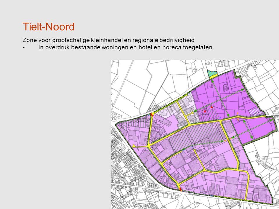 13 Tielt-Noord Zone voor grootschalige kleinhandel en regionale bedrijvigheid -In overdruk bestaande woningen en hotel en horeca toegelaten