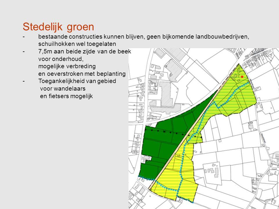 Stedelijk groen -bestaande constructies kunnen blijven, geen bijkomende landbouwbedrijven, schuilhokken wel toegelaten -7,5m aan beide zijde van de beek voor onderhoud, mogelijke verbreding en oeverstroken met beplanting -Toegankelijkheid van gebied voor wandelaars en fietsers mogelijk