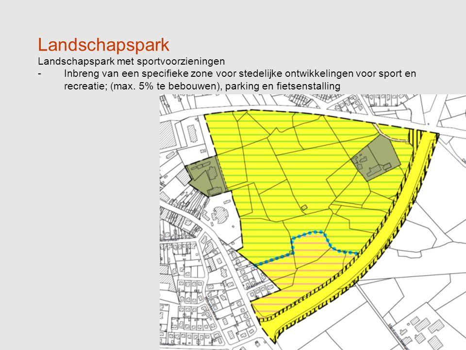 Landschapspark Landschapspark met sportvoorzieningen -Inbreng van een specifieke zone voor stedelijke ontwikkelingen voor sport en recreatie; (max.