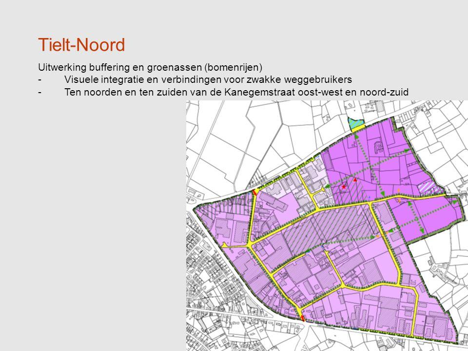 7 Tielt-Noord Uitwerking buffering en groenassen (bomenrijen) -Visuele integratie en verbindingen voor zwakke weggebruikers -Ten noorden en ten zuiden van de Kanegemstraat oost-west en noord-zuid