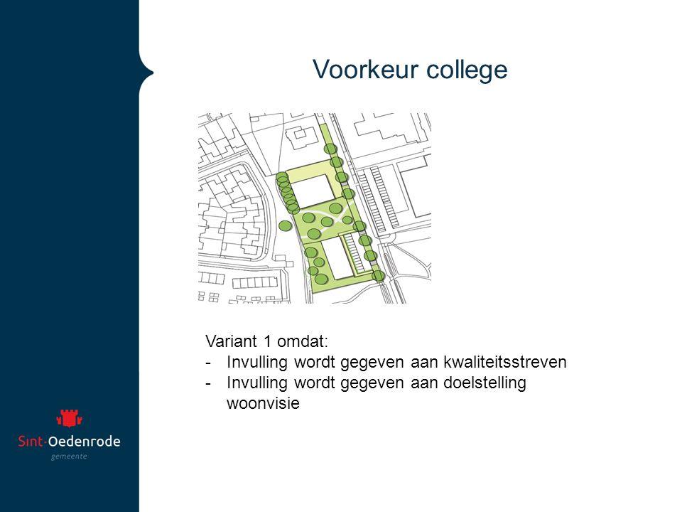 Voorkeur college Variant 1 omdat: -Invulling wordt gegeven aan kwaliteitsstreven -Invulling wordt gegeven aan doelstelling woonvisie