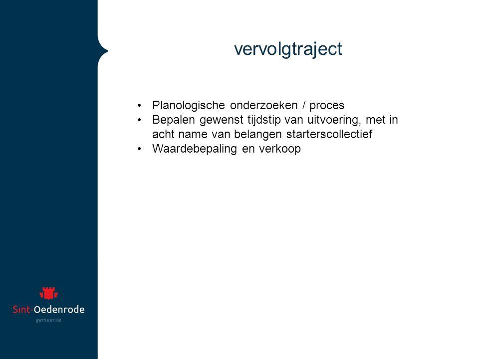 vervolgtraject Planologische onderzoeken / proces Bepalen gewenst tijdstip van uitvoering, met in acht name van belangen starterscollectief Waardebepaling en verkoop