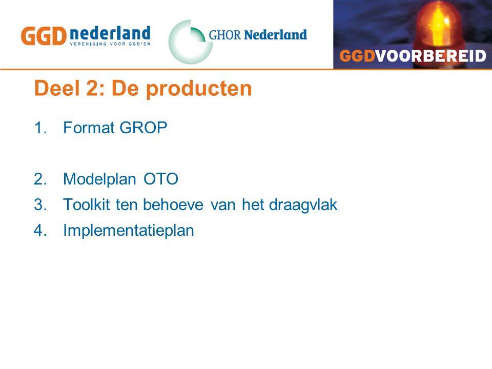 Deel 2: De producten 1. Format GROP 2. Modelplan OTO 3. Toolkit ten behoeve van het draagvlak 4. Implementatieplan
