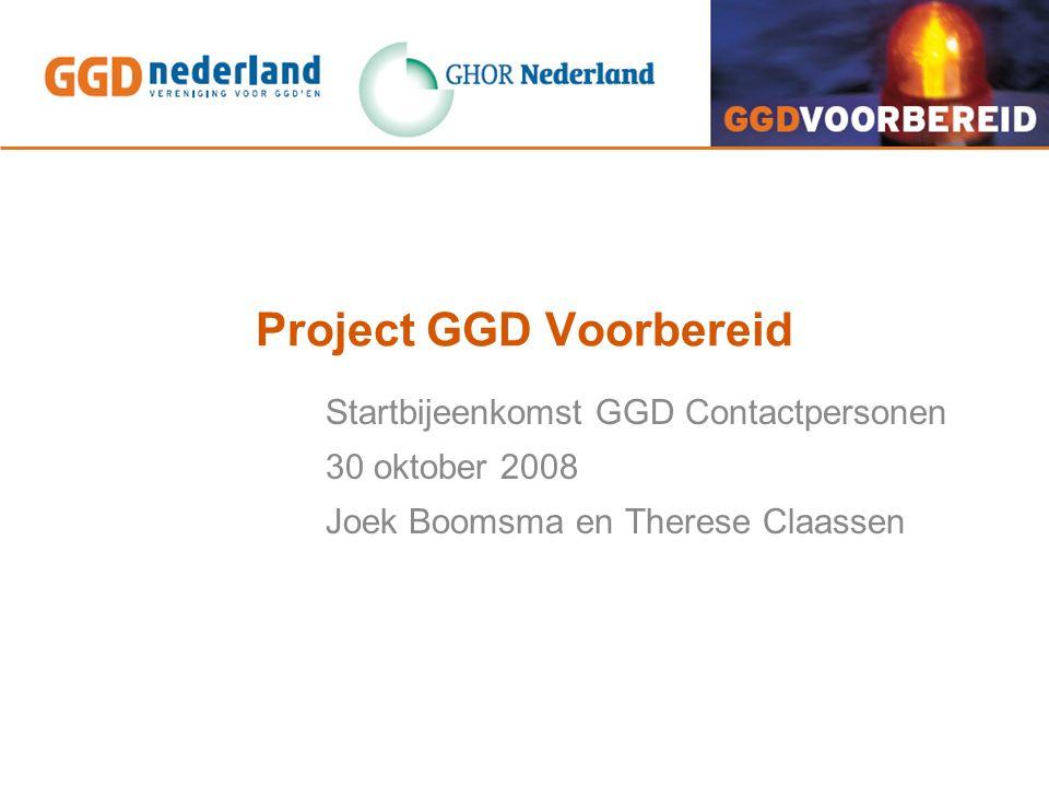 Werkwijze Wat verwachten we van GGD'en: - Contactpersoon - Actieve participatie in het project - Implementatie, terugkoppeling en draagvlak eigen GGD Wat bieden we GGD'en: - Ondersteuning