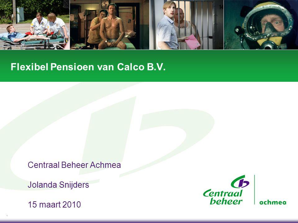1 Flexibel Pensioen van Calco B.V. Centraal Beheer Achmea Jolanda Snijders 15 maart 2010