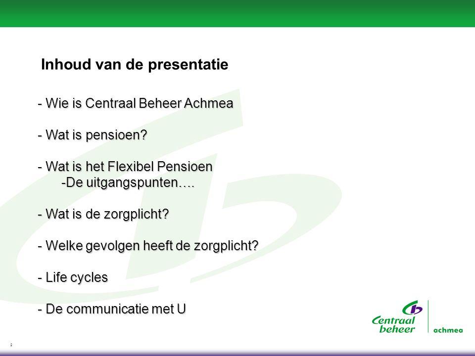 2 Inhoud van de presentatie - Wie is Centraal Beheer Achmea - Wat is pensioen? - Wat is het Flexibel Pensioen -De uitgangspunten…. - Wat is de zorgpli