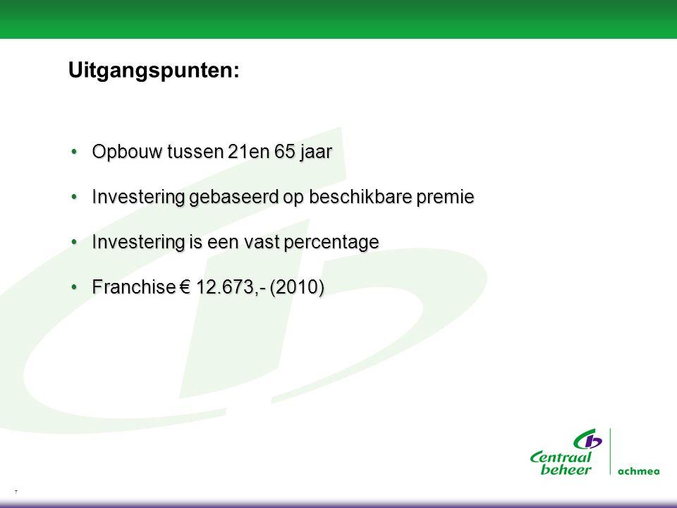 7 Uitgangspunten: Opbouw tussen 21en 65 jaarOpbouw tussen 21en 65 jaar Investering gebaseerd op beschikbare premieInvestering gebaseerd op beschikbare