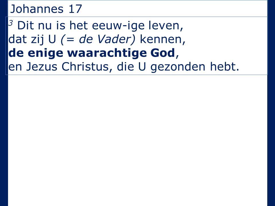 Johannes 17 3 Dit nu is het eeuw-ige leven, dat zij U (= de Vader) kennen, de enige waarachtige God, en Jezus Christus, die U gezonden hebt.