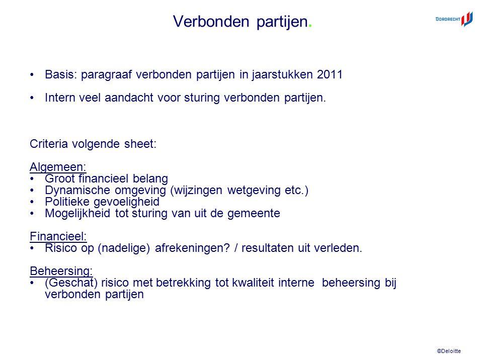 ©Deloitte Verbonden partijen. Basis: paragraaf verbonden partijen in jaarstukken 2011 Intern veel aandacht voor sturing verbonden partijen. Criteria v