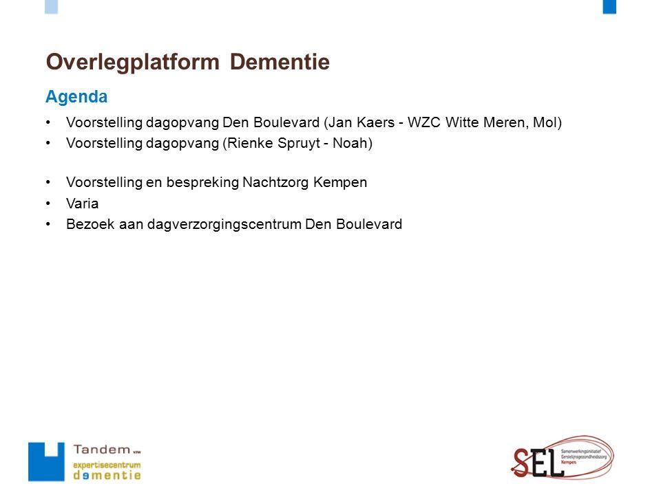 Overlegplatform Dementie Agenda Voorstelling dagopvang Den Boulevard (Jan Kaers - WZC Witte Meren, Mol) Voorstelling dagopvang (Rienke Spruyt - Noah)