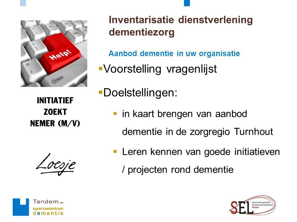  Voorstelling vragenlijst  Doelstellingen:  in kaart brengen van aanbod dementie in de zorgregio Turnhout  Leren kennen van goede initiatieven / projecten rond dementie Aanbod dementie in uw organisatie Inventarisatie dienstverlening dementiezorg