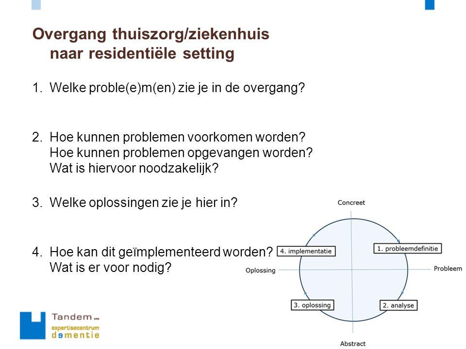 Overgang thuiszorg/ziekenhuis naar residentiële setting 1.Welke proble(e)m(en) zie je in de overgang? 2.Hoe kunnen problemen voorkomen worden? Hoe kun
