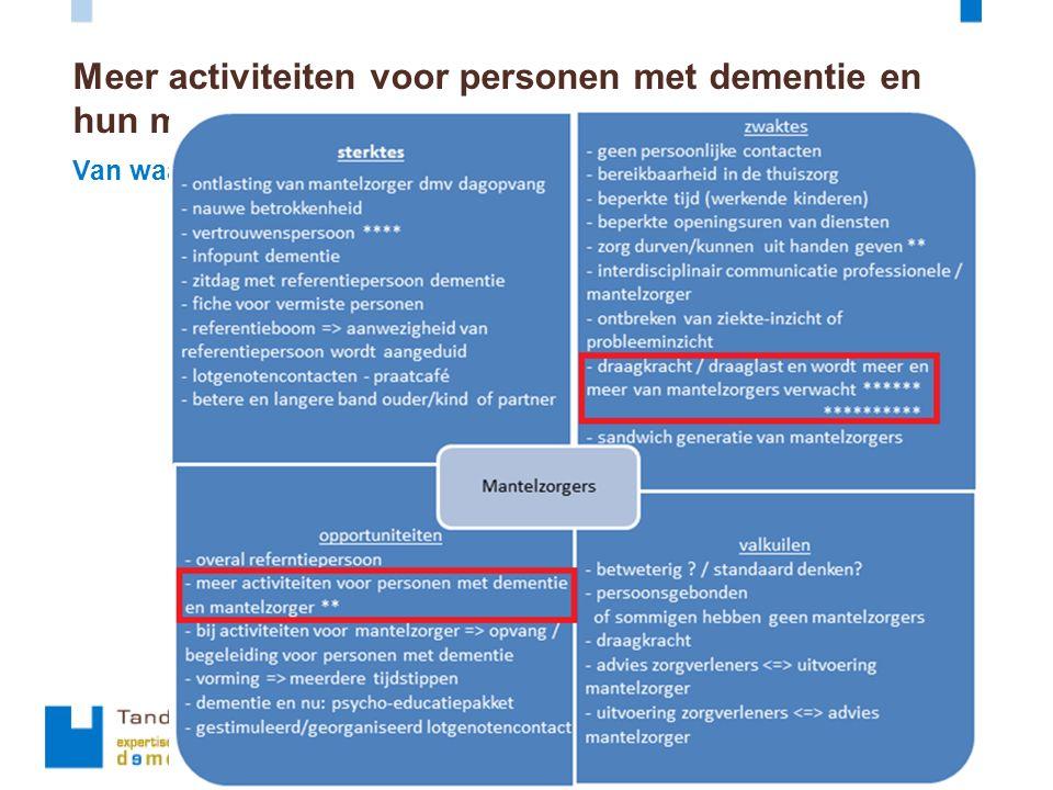 Van waar komt de vraag? Meer activiteiten voor personen met dementie en hun mantelzorger