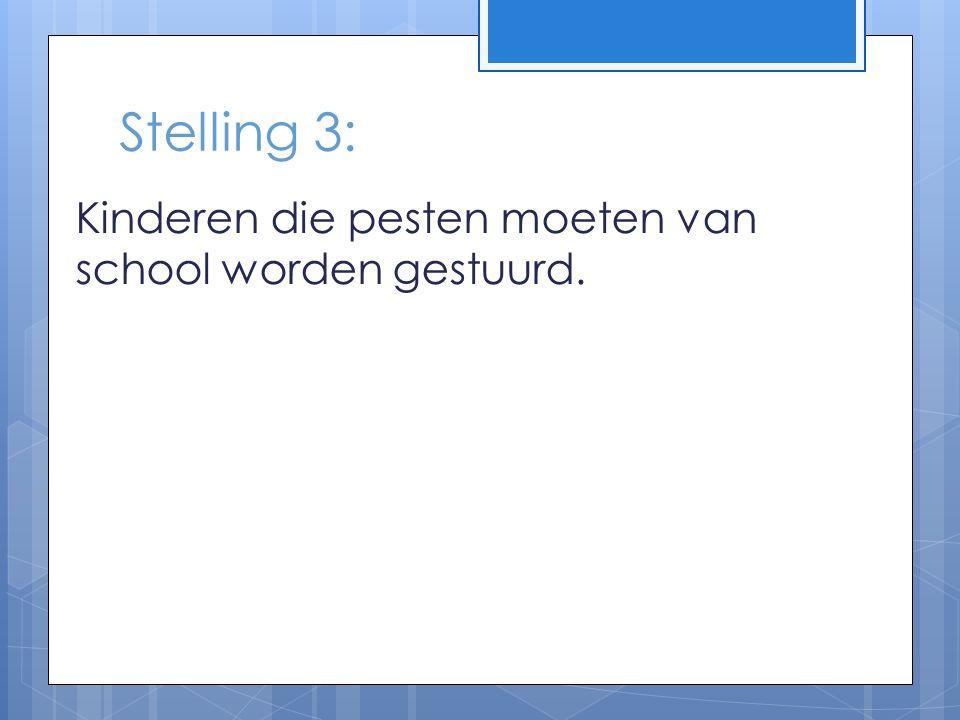 Stelling 3: Kinderen die pesten moeten van school worden gestuurd.