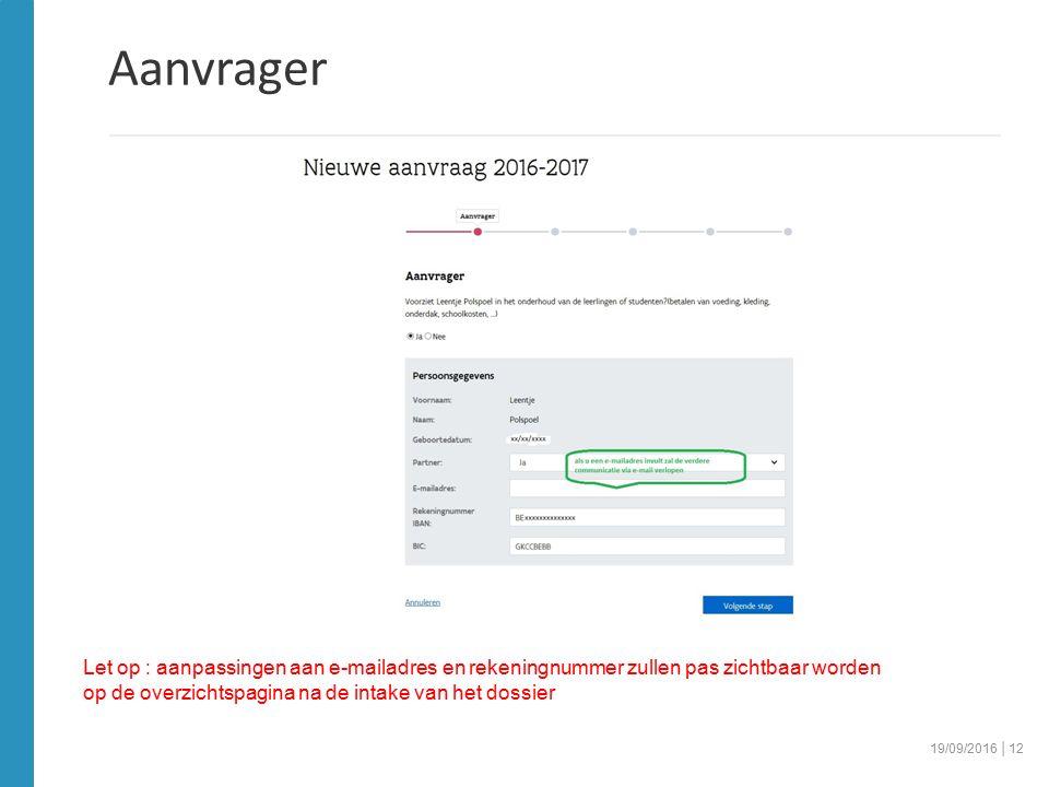 Aanvrager 19/09/2016 │12 Let op : aanpassingen aan e-mailadres en rekeningnummer zullen pas zichtbaar worden op de overzichtspagina na de intake van het dossier