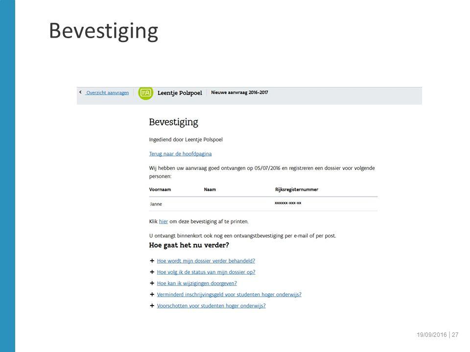 Bevestiging 19/09/2016 │27
