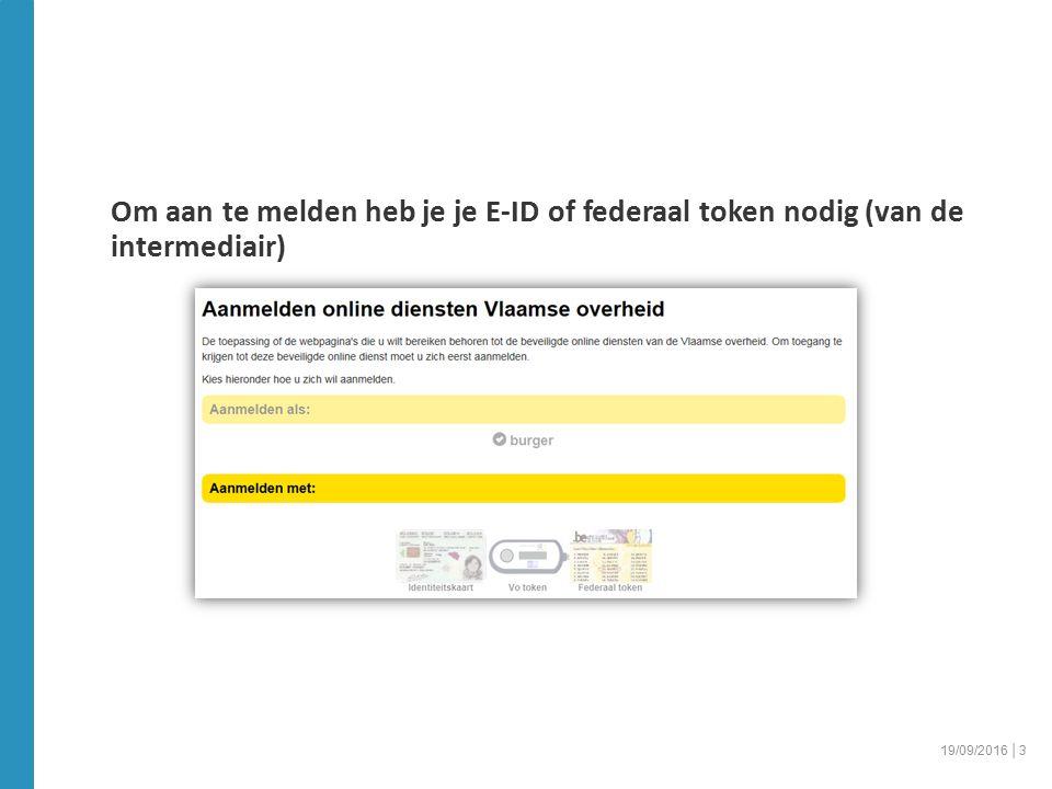 Om aan te melden heb je je E-ID of federaal token nodig (van de intermediair) 19/09/2016 │3