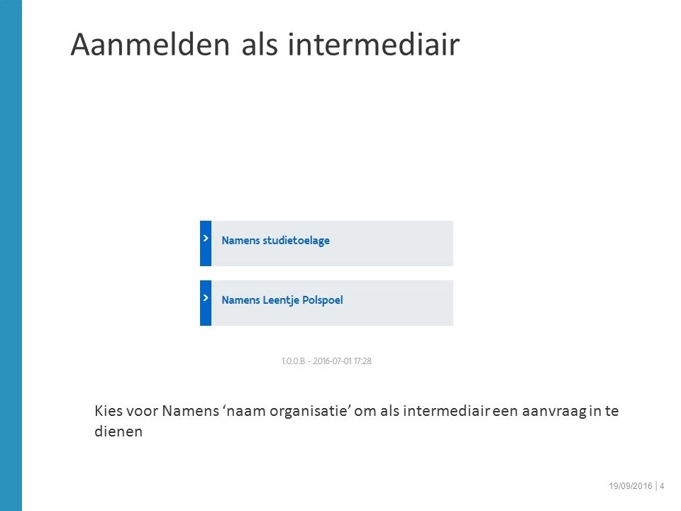 Aanmelden als intermediair 19/09/2016 │4 Kies voor Namens 'naam organisatie' om als intermediair een aanvraag in te dienen