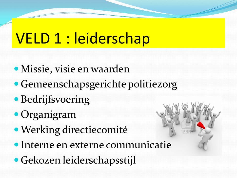 VELD 1 : leiderschap Missie, visie en waarden Gemeenschapsgerichte politiezorg Bedrijfsvoering Organigram Werking directiecomité Interne en externe communicatie Gekozen leiderschapsstijl
