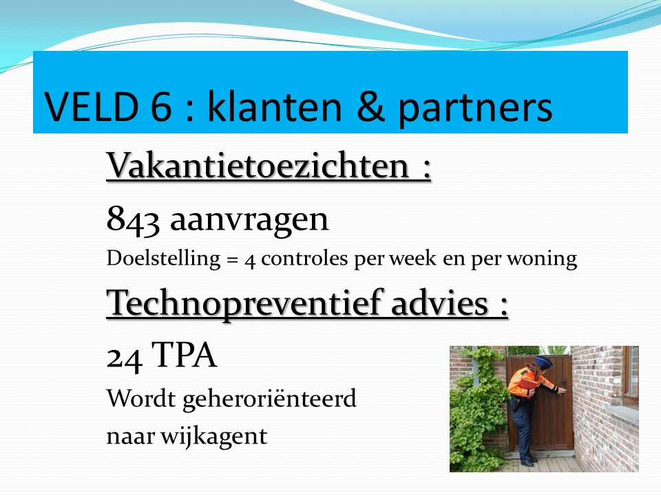 VELD 6 : klanten & partners Vakantietoezichten : 843 aanvragen Doelstelling = 4 controles per week en per woning Technopreventief advies : 24 TPA Word