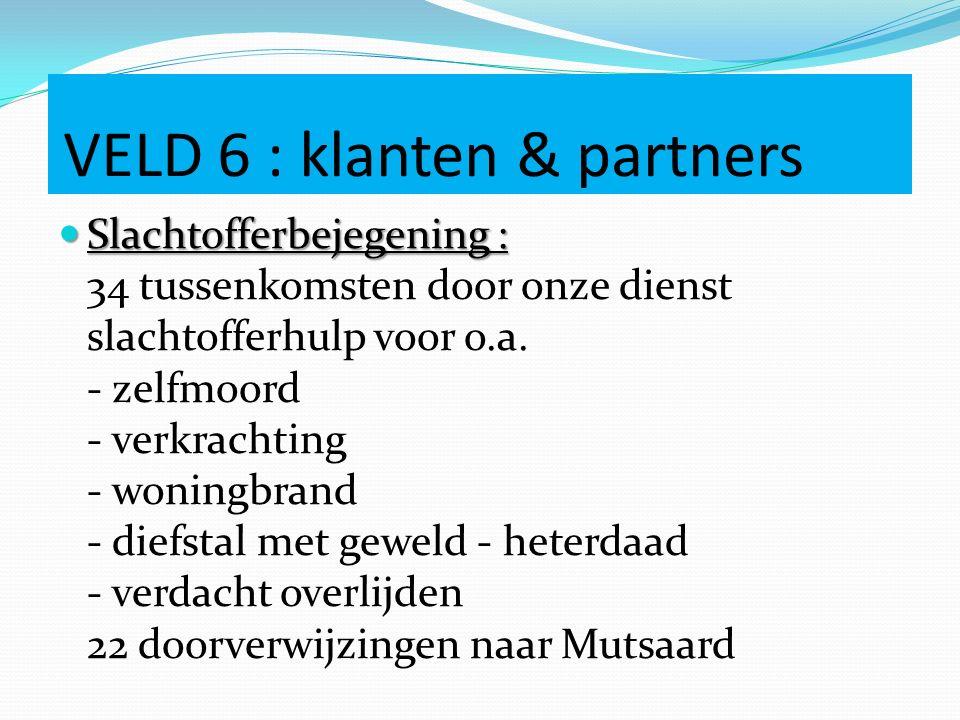 VELD 6 : klanten & partners Slachtofferbejegening : Slachtofferbejegening : 34 tussenkomsten door onze dienst slachtofferhulp voor o.a.