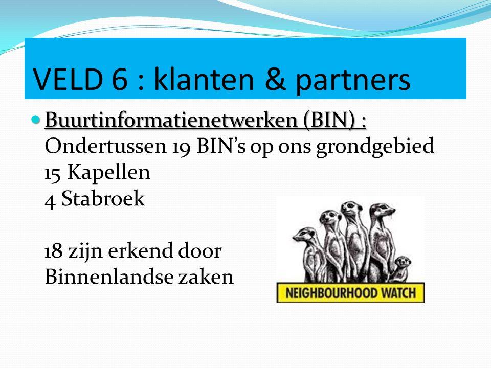VELD 6 : klanten & partners Buurtinformatienetwerken (BIN) : Buurtinformatienetwerken (BIN) : Ondertussen 19 BIN's op ons grondgebied 15 Kapellen 4 St