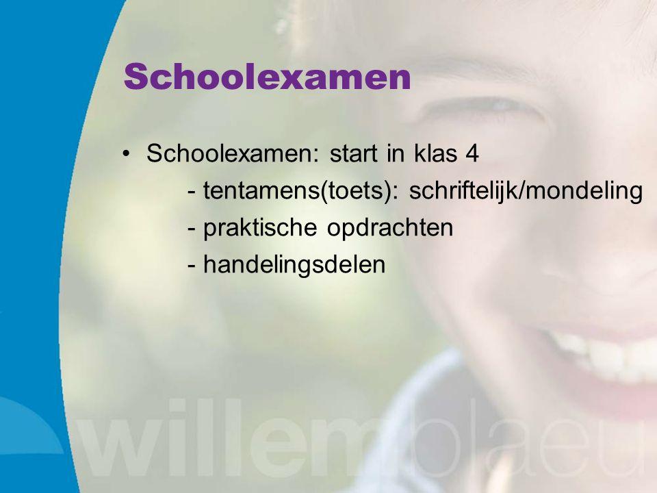 Schoolexamen Schoolexamen: start in klas 4 - tentamens(toets): schriftelijk/mondeling - praktische opdrachten - handelingsdelen