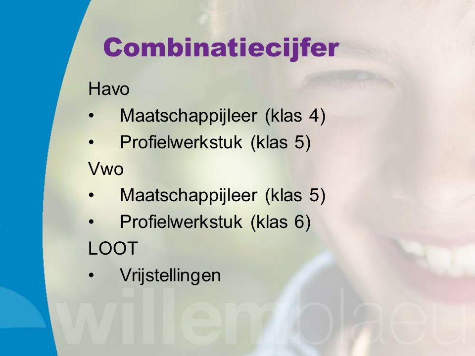 Combinatiecijfer Havo Maatschappijleer (klas 4) Profielwerkstuk (klas 5) Vwo Maatschappijleer (klas 5) Profielwerkstuk (klas 6) LOOT Vrijstellingen