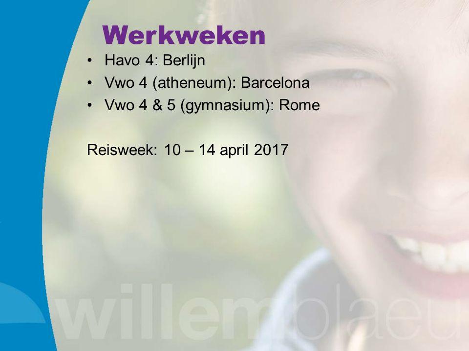 Werkweken Havo 4: Berlijn Vwo 4 (atheneum): Barcelona Vwo 4 & 5 (gymnasium): Rome Reisweek: 10 – 14 april 2017