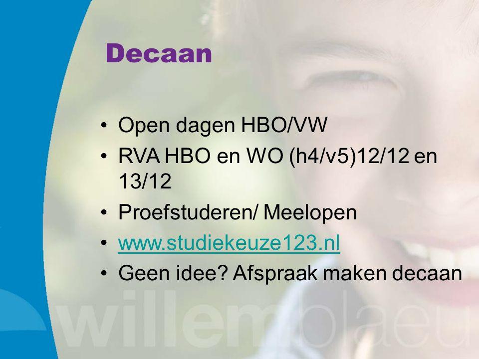 Decaan Open dagen HBO/VW RVA HBO en WO (h4/v5)12/12 en 13/12 Proefstuderen/ Meelopen www.studiekeuze123.nl Geen idee.