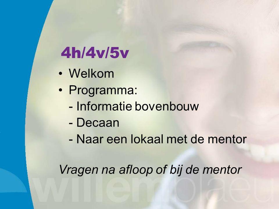 4h/4v/5v Welkom Programma: - Informatie bovenbouw - Decaan - Naar een lokaal met de mentor Vragen na afloop of bij de mentor