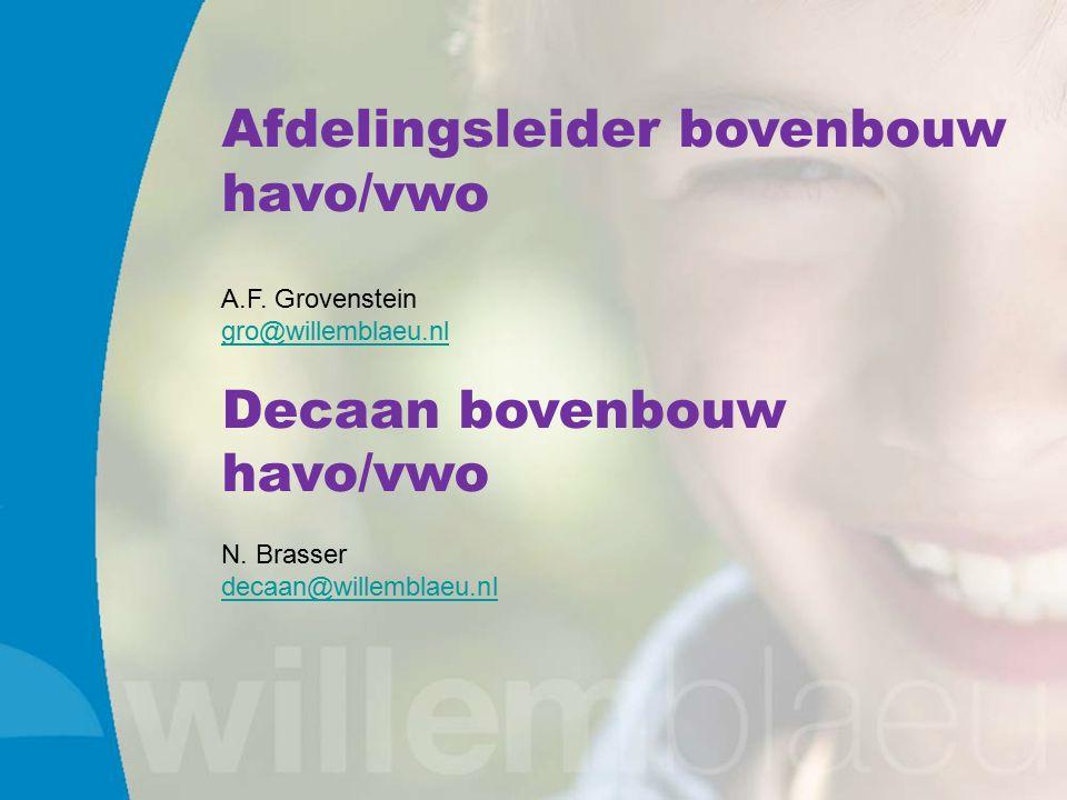 Afdelingsleider bovenbouw havo/vwo A.F. Grovenstein gro@willemblaeu.nl Decaan bovenbouw havo/vwo N.