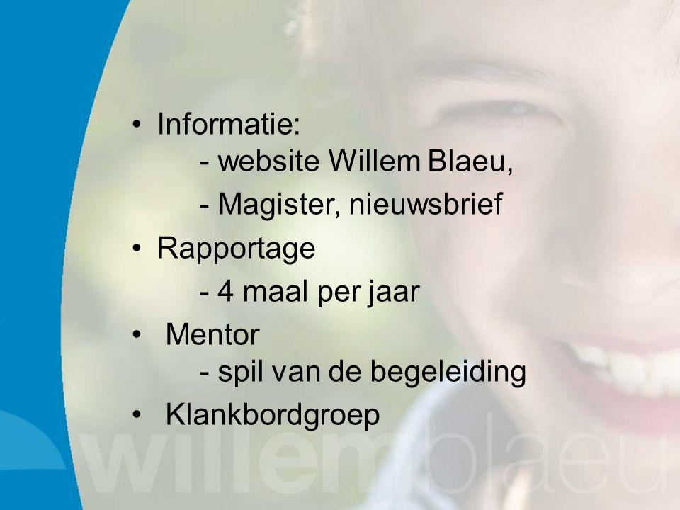 Informatie: - website Willem Blaeu, - Magister, nieuwsbrief Rapportage - 4 maal per jaar Mentor - spil van de begeleiding Klankbordgroep