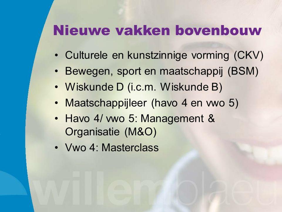 Nieuwe vakken bovenbouw Culturele en kunstzinnige vorming (CKV) Bewegen, sport en maatschappij (BSM) Wiskunde D (i.c.m.