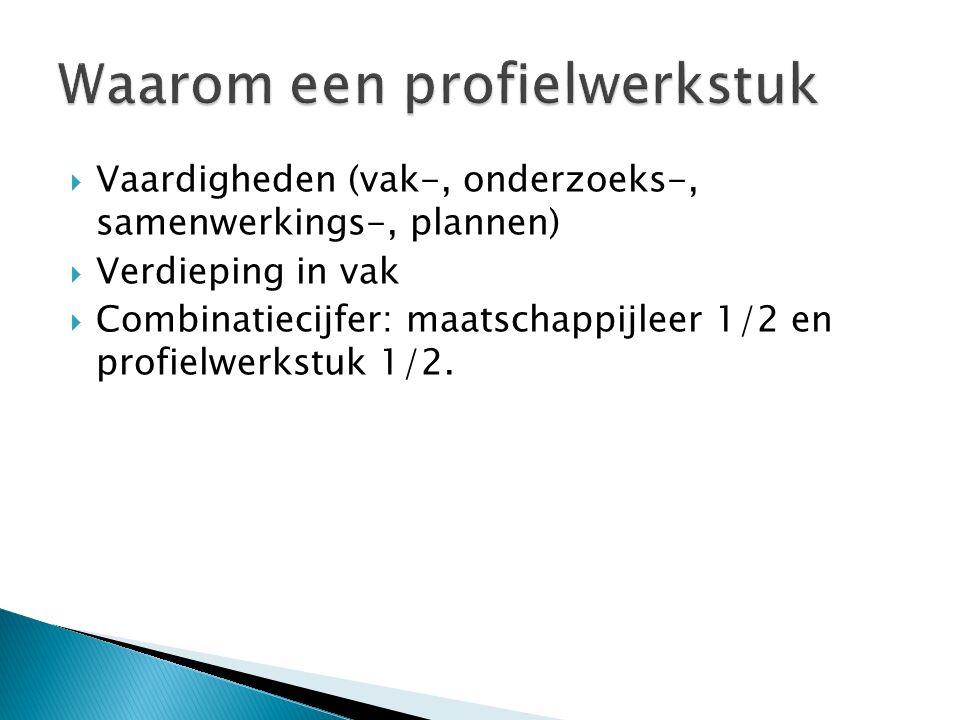  Vaardigheden (vak-, onderzoeks-, samenwerkings-, plannen)  Verdieping in vak  Combinatiecijfer: maatschappijleer 1/2 en profielwerkstuk 1/2.
