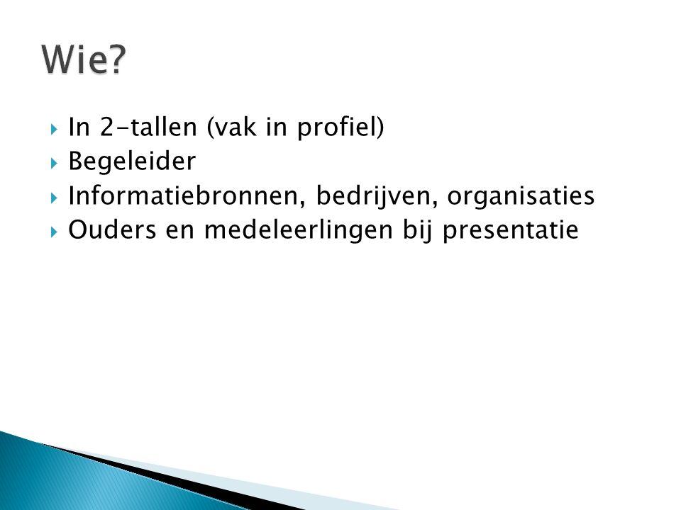  In 2-tallen (vak in profiel)  Begeleider  Informatiebronnen, bedrijven, organisaties  Ouders en medeleerlingen bij presentatie