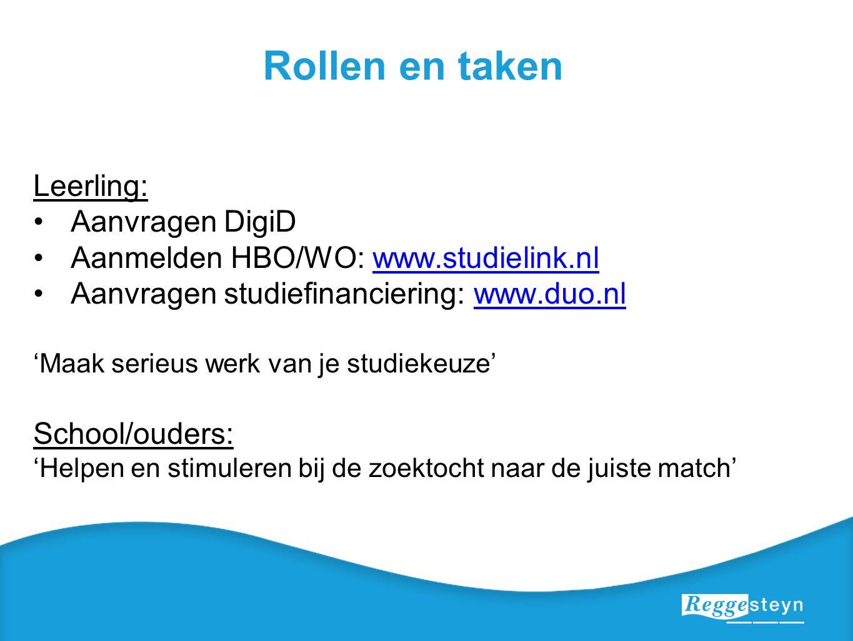 Rollen en taken Leerling: Aanvragen DigiD Aanmelden HBO/WO: www.studielink.nlwww.studielink.nl Aanvragen studiefinanciering: www.duo.nlwww.duo.nl 'Maa