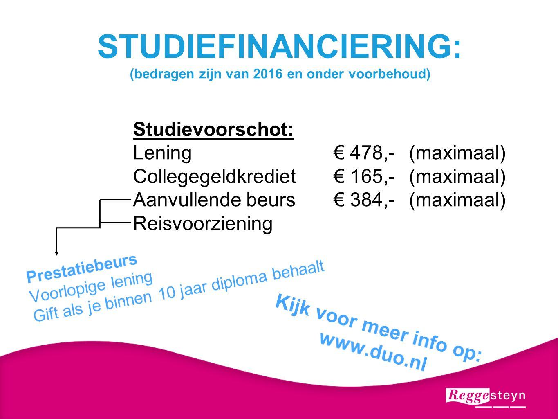 STUDIEFINANCIERING: (bedragen zijn van 2016 en onder voorbehoud) Studievoorschot: Lening€ 478,-(maximaal) Collegegeldkrediet€ 165,-(maximaal) Aanvulle