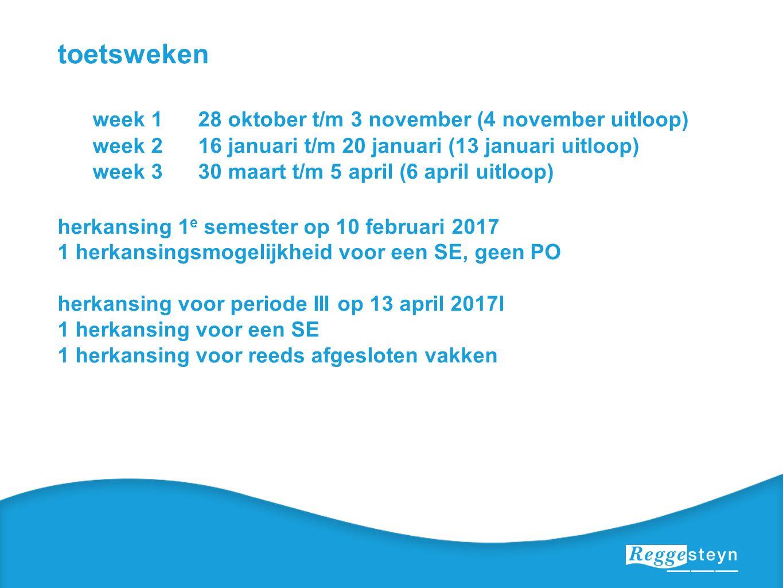 toetsweken week 128 oktober t/m 3 november (4 november uitloop) week 216 januari t/m 20 januari (13 januari uitloop) week 330 maart t/m 5 april (6 apr