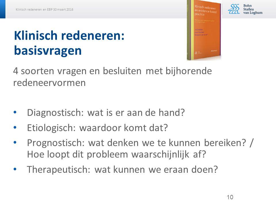 Klinisch redeneren en EBP 30 maart 2016 Klinisch redeneren: basisvragen 4 soorten vragen en besluiten met bijhorende redeneervormen Diagnostisch: wat is er aan de hand.