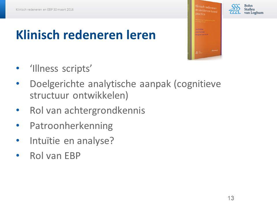 Klinisch redeneren en EBP 30 maart 2016 Klinisch redeneren leren 'Illness scripts' Doelgerichte analytische aanpak (cognitieve structuur ontwikkelen) Rol van achtergrondkennis Patroonherkenning Intuïtie en analyse.