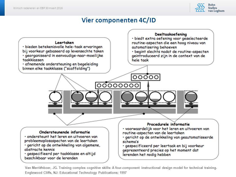 Klinisch redeneren en EBP 30 maart 2016 Vier componenten 4C/ID Van Merrie ̈ nboer, JG. Training complex cognitive skills: A four-component instruction