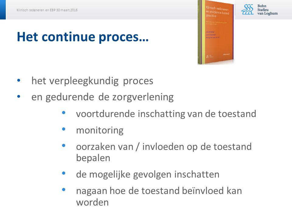 Klinisch redeneren en EBP 30 maart 2016 Het continue proces… het verpleegkundig proces en gedurende de zorgverlening voortdurende inschatting van de toestand monitoring oorzaken van / invloeden op de toestand bepalen de mogelijke gevolgen inschatten nagaan hoe de toestand beïnvloed kan worden