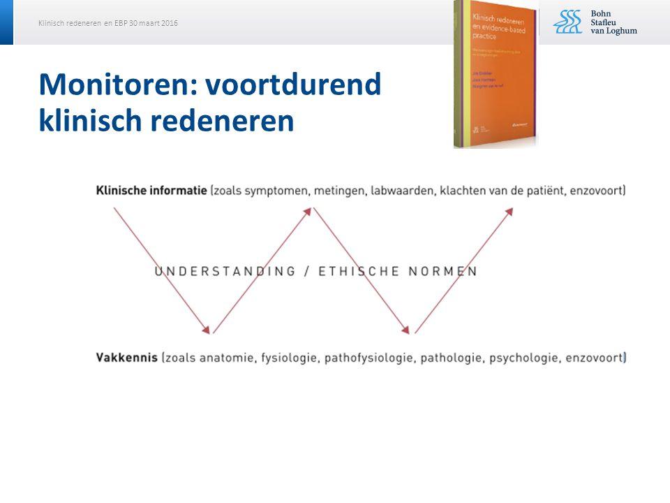 Klinisch redeneren en EBP 30 maart 2016 Monitoren: voortdurend klinisch redeneren