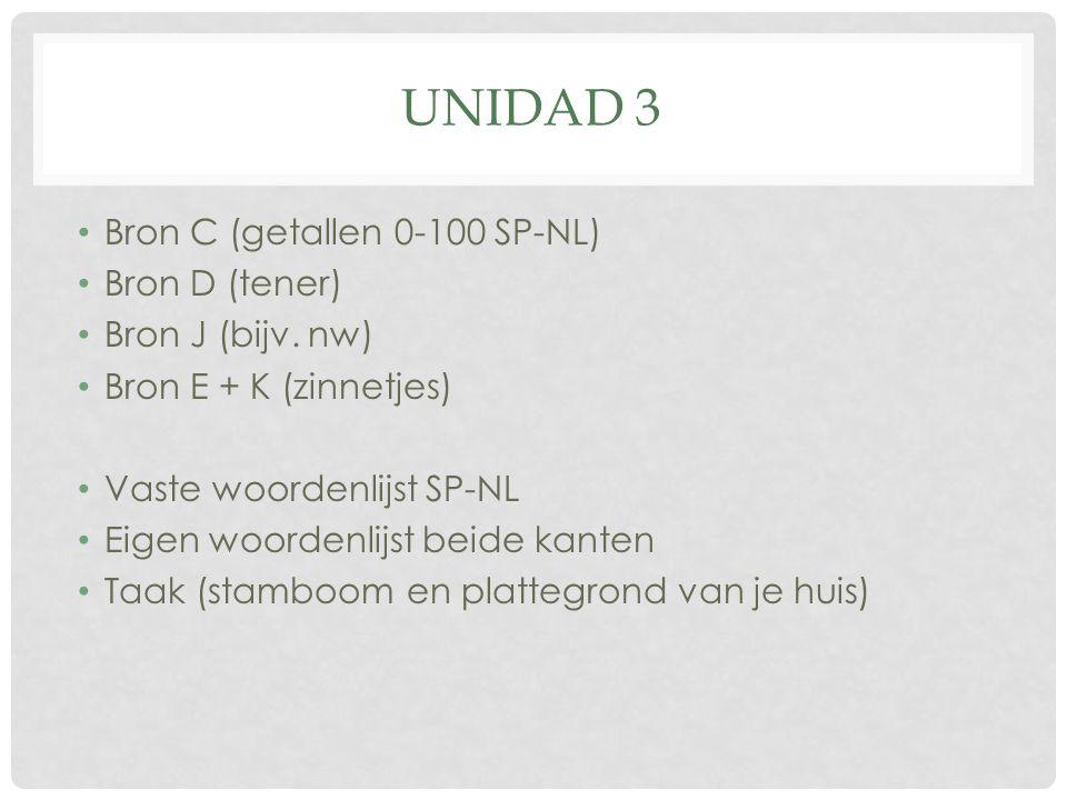 UNIDAD 3 Bron C (getallen 0-100 SP-NL) Bron D (tener) Bron J (bijv.