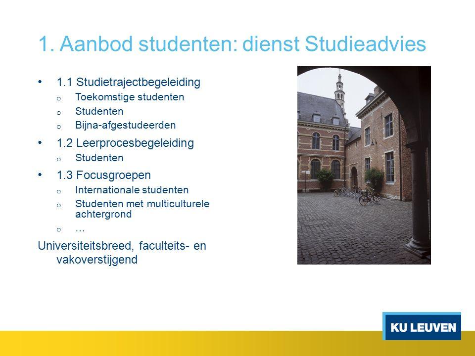 1. Aanbod studenten: dienst Studieadvies 1.1 Studietrajectbegeleiding o Toekomstige studenten o Studenten o Bijna-afgestudeerden 1.2 Leerprocesbegelei