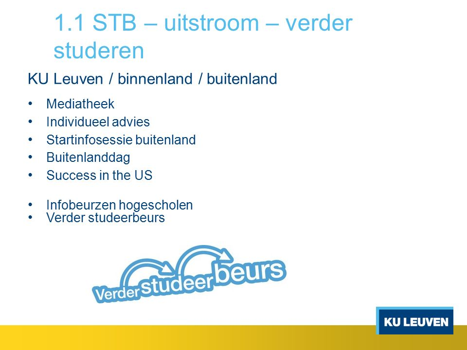 1.1 STB – uitstroom - tewerkstelling Jobinfodag Infoavonden Wegwijs arbeidsmarkt Vacature- en stagedatabank Individueel advies