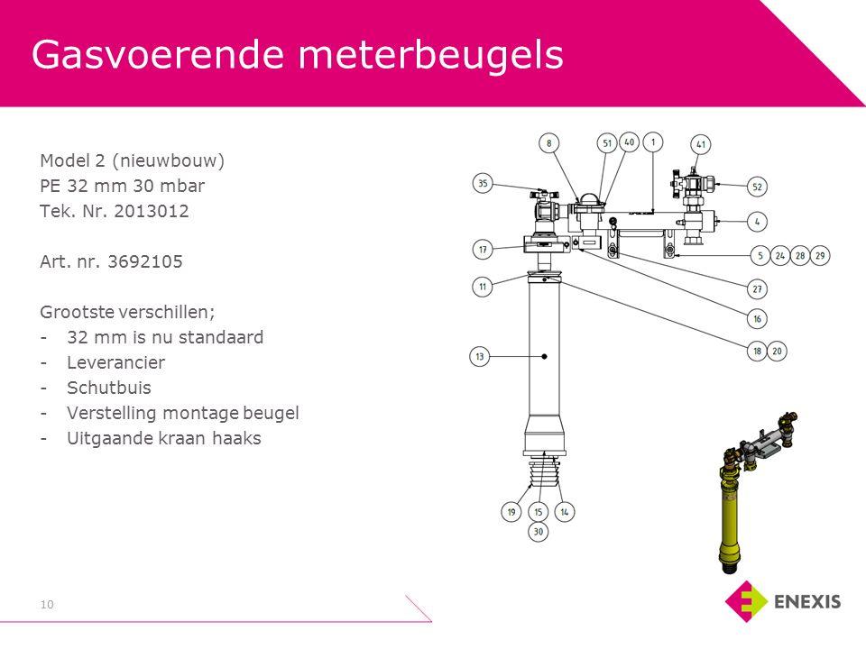 Gasvoerende meterbeugels 10 Model 2 (nieuwbouw) PE 32 mm 30 mbar Tek.