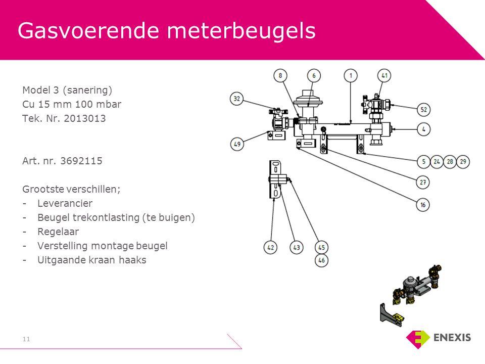 Gasvoerende meterbeugels 11 Model 3 (sanering) Cu 15 mm 100 mbar Tek.